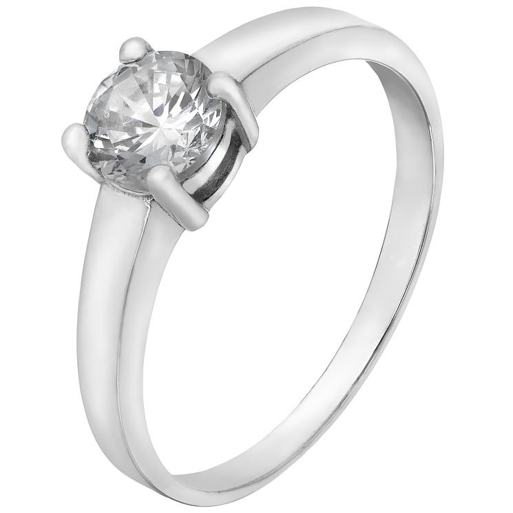 Sterling Silver & Cubic Zirconia Solitaire Ring Size K - Product number 5159296