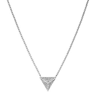 Buckley London Silver Hoxton Crystal Triangle Pendant - Product number 5164443