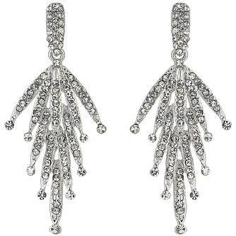 Mikey Silver Tone Crystal Leaf Drop Earrings - Product number 5170443