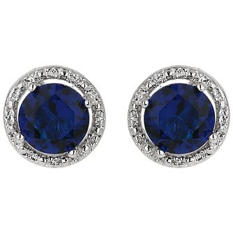 Mikey Silver Tone Blue & White Crystal Stud Earrings - Product number 5170486