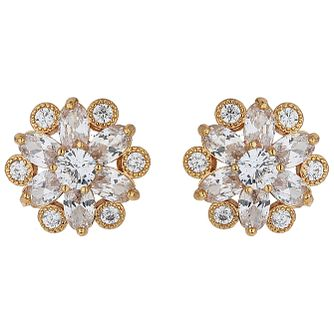 Mikey Gold Tone Cubic Zirconia Daisy Stud Earrings - Product number 5170516