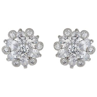 Mikey Silver Tone Cubic Zirconia Daisy Stud Earrings - Product number 5170524