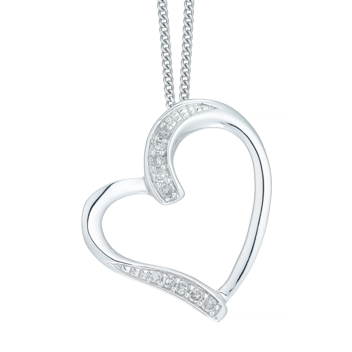 zircon with pendant sterling heart jewellery necklace silver