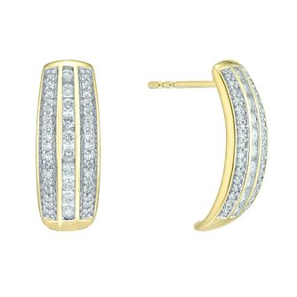 9ct Yellow Gold 0.50ct Diamond Hoop Earrings - Product number 5179971
