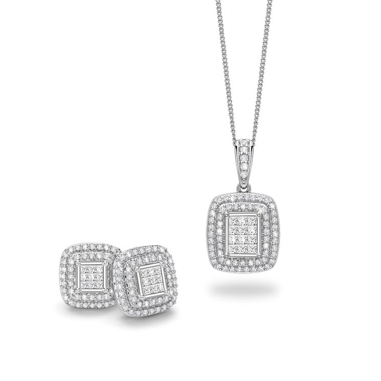 18ct White Gold 1ct Diamond Jewellery Set - Product number 5180171