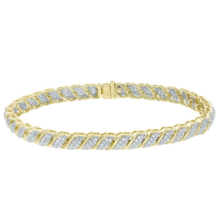 9ct Yellow Gold 2ct Diamond Bracelet - Product number 5180244