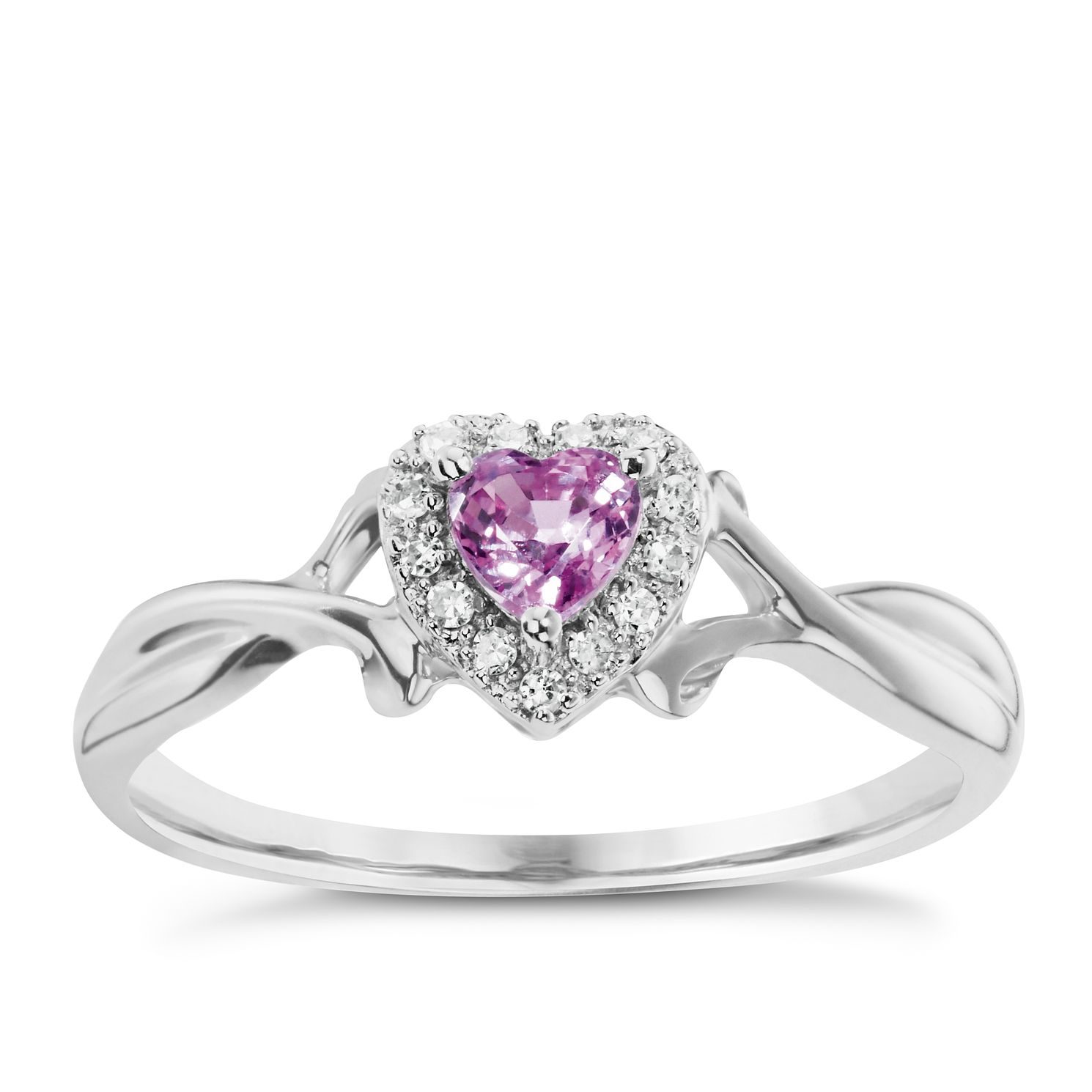 9ct white gold pink sapphire and diamond ring product number