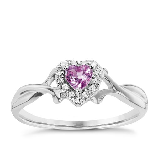 9ct White Gold Pink Sapphire and Diamond Ring - Product number 5187311