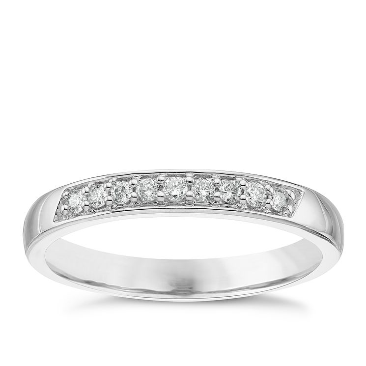 18ct White Gold 0.11 Diamond Set Ladies' Band Ring - Product number 5195721