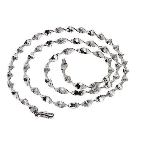 9ct White Gold Twist Herringbone Necklace - Product number 5200814