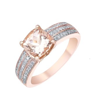 9ct Rose Gold Morganite 0.20ct Diamond Ring - Product number 5209072