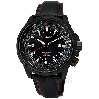 Citizen Eco-Drive GMT Men's Black Leather Strap Watch - Product number 5210186