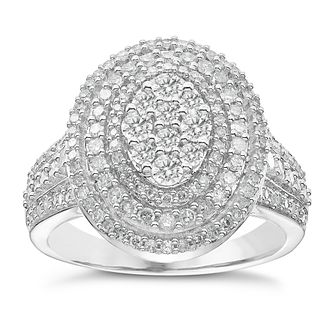 18ct White Gold 1ct Diamond Oval Halo Ring - Product number 5211174