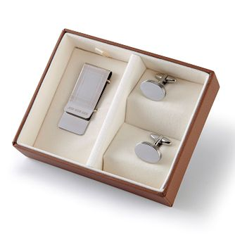 Jos Von Arx Rhodium Cufflinks & Money Clip Gift Set - Product number 5216060