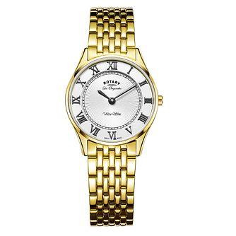 Rotary Ultra Slim Ladies' Gold Plated Bracelet Watch - Product number 5220459