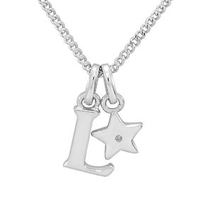 Diamond Wishes Children's Silver 'L' Pendant with Star Charm - Product number 5221226