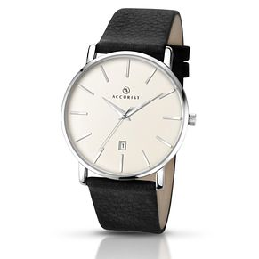 Accurist Men's White Dial Black Leather Strap Watch - Product number 5221625