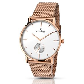 Accurist Men's White Dial Rose Gold-Plated Mesh Strap Watch - Product number 5221676