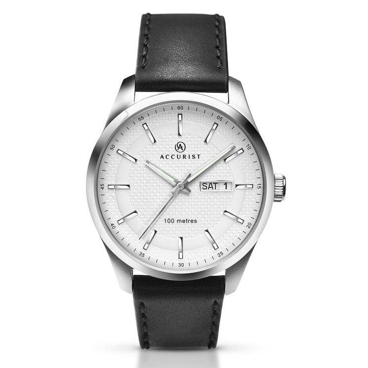 Accurist Men's White Dial Black Leather Strap Watch - Product number 5221722