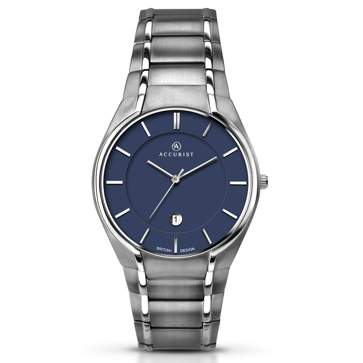 Accurist Men's Blue Dial Titanium Bracelet Watch - Product number 5221749