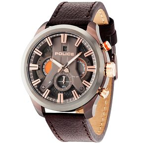Police Cyclone Men's Grey Dial Brown Leather Strap Watch - Product number 5225736