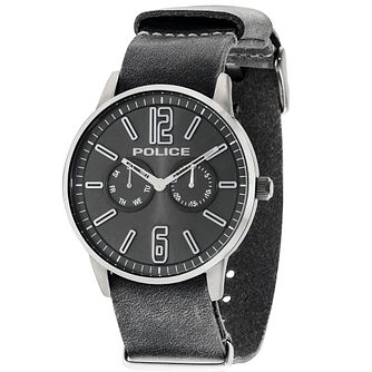Police Esquire X Men's Gunmetal Leather Strap Watch - Product number 5225809