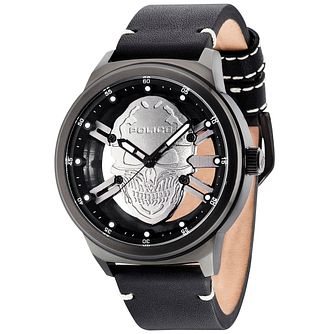 Police Predator Men's Skull Dial Black Leather Strap Watch - Product number 5225833