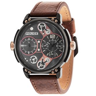 Police Steampunk Brown Dial Camel Leather Strap Watch - Product number 5225841