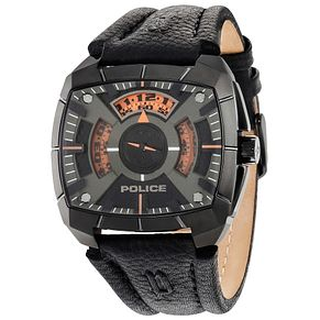 Police Gent's Black Leather Strap Watch - Product number 5225876