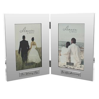 "Amore Silver-Plated Wedding & 25th Anniversary Frame  4""x6"" - Product number 5234840"