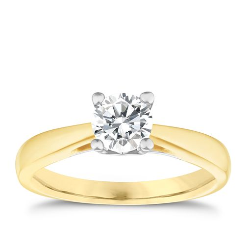 9ct Yellow Gold 0.66 ct Diamond Solitaire Ring - Product number 5237696