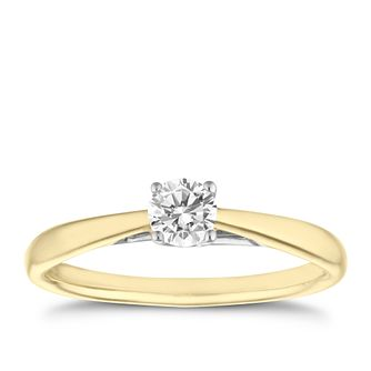 9ct gold 1/4ct diamond solitaire ring - Product number 5238021