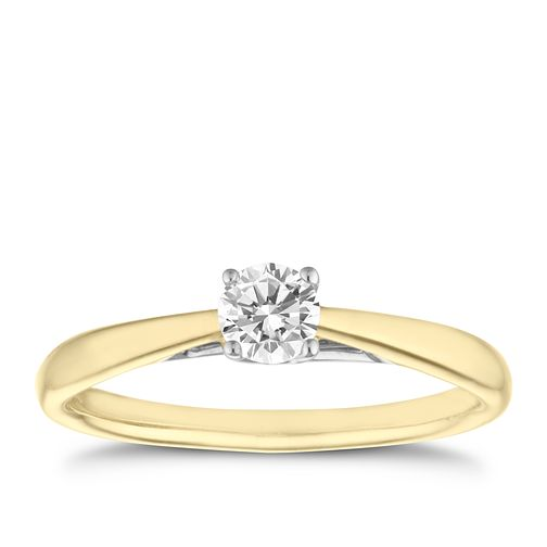 9ct gold 0.25ct diamond solitaire ring - Product number 5238021