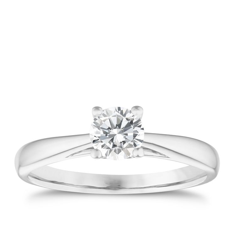 9ct white gold 0.50ct diamond solitaire ring - Product number 5238889