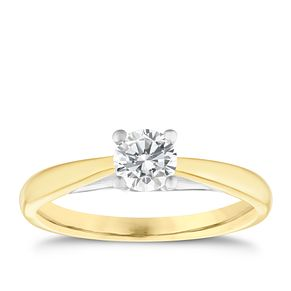 9ct yellow gold 1/2ct diamond solitaire ring - Product number 5239036