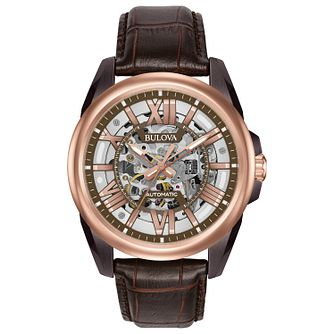Bulova Automatic Men's Rose Gold Plated Skeleton Watch - Product number 5239974