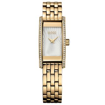 Hugo Boss Ladies' Gold Plated Stone Set Bracelet Watch - Product number 5245389