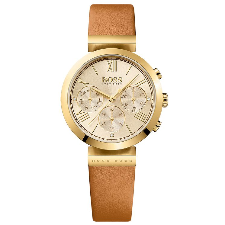 Hugo Boss Ladies' Gold Plated Chronograph Strap Watch - Product number 5245494