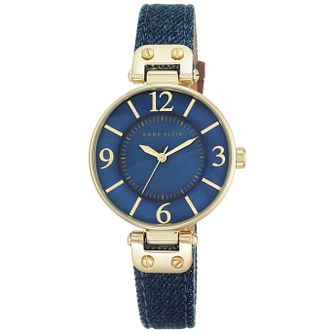 Anne Klein Ladies' Gold-Plated Blue Denim Strap Watch - Product number 5246997