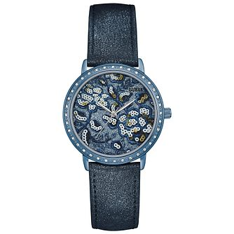 Guess Ladies' Blue Patterned Dial Blue Leather Strap Watch - Product number 5248515