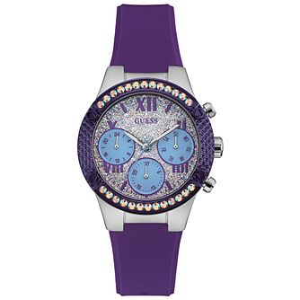 Guess Ladies' Silver Dial Purple Silicone Strap Watch - Product number 5248531