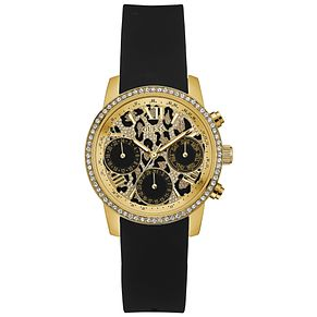 Guess Ladies' Leopard Print Dial Black Silicone Strap Watch - Product number 5248582