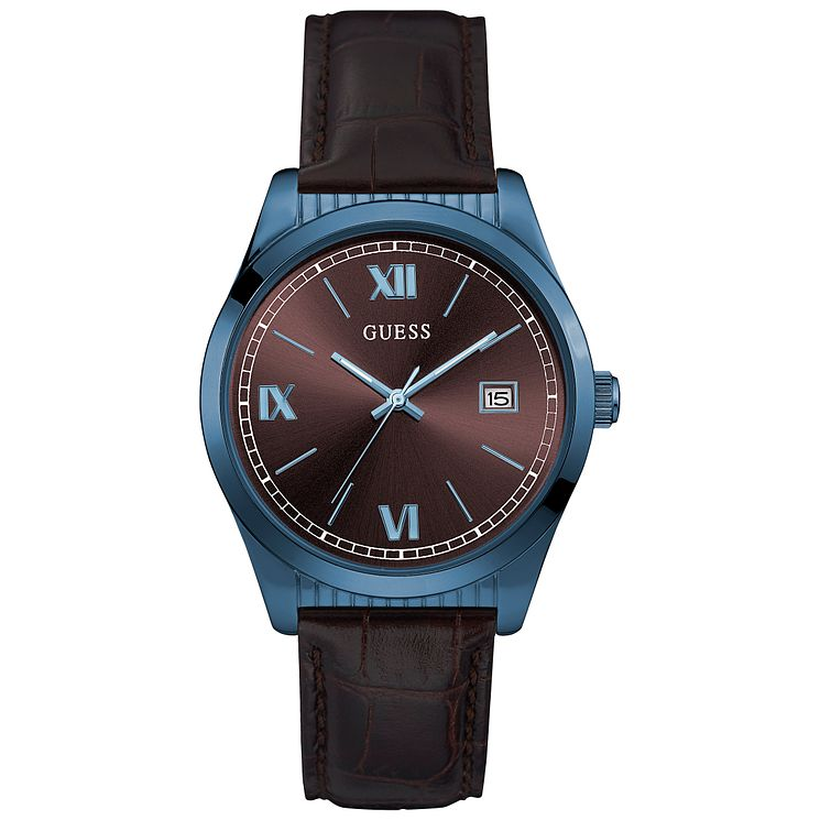 Guess Men's Brown Dial Brown Leather Strap Watch - Product number 5248639