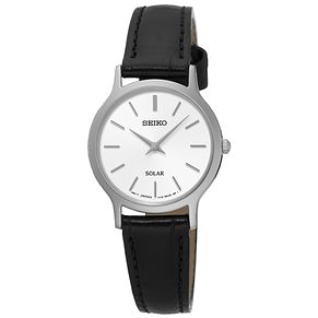 Seiko Solar Ladies' White Dial Black Leather Strap Watch - Product number 5252725