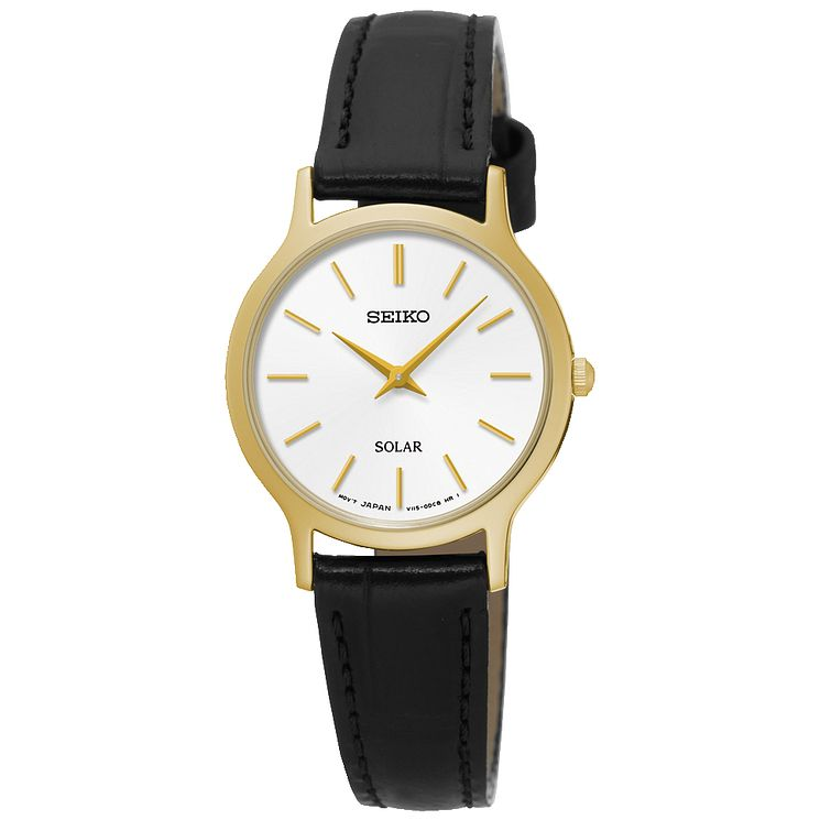 Seiko Solar Ladies' Gold-Plated Black Leather Strap Watch - Product number 5252733