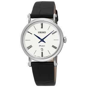 Seiko Premier Ladies' White Dial Black Leather Strap Watch - Product number 5252806
