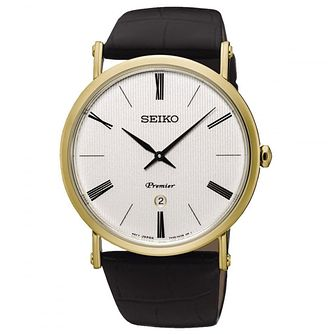 Seiko Premier Men's Gold Plated Black Leather Strap Watch - Product number 5252830