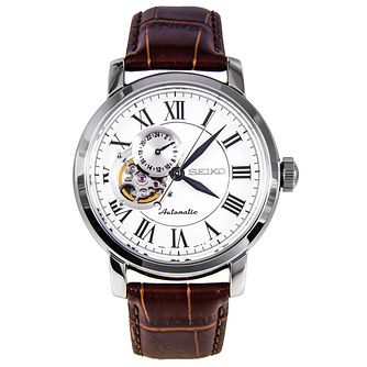 Seiko Men's Stainless Steel Brown Leather Strap Watch - Product number 5252865