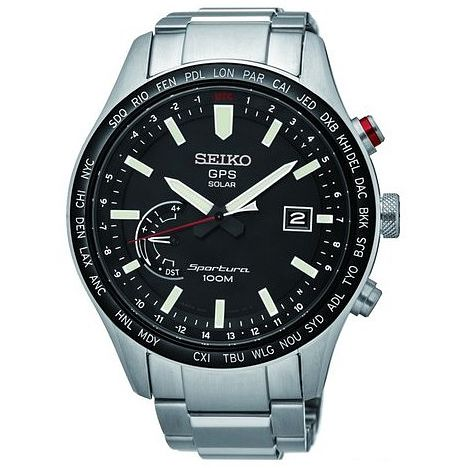 Seiko Sportura Men's Black Stainless Steel Bracelet Watch - Product number 5252954