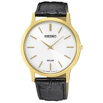 Seiko Solar Men's Gold-Plated Black Leather Strap Watch - Product number 5253004